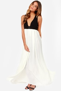 Feature Story Black and Ivory Maxi Dress at Lulus.com!