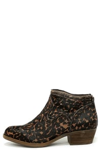 Kensie Gabor Leopard Pony Fur Ankle Boots at Lulus.com!