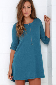 Symphony Washed Blue Swing Dress at Lulus.com!
