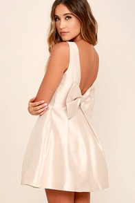 Bow Me a Kiss Beige Backless Dress at Lulus.com!