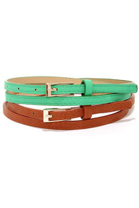 Two to Tango Sea Green and Tan Belt Set at Lulus.com!