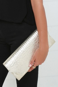 Enclosed Quarters Gold Clutch at Lulus.com!