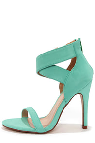 Lupid 4 Mint Nubuck Ankle Strap Heels at Lulus.com!