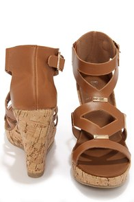 Modina 3 Tan and Gold Platform Wedge Sandals at Lulus.com!