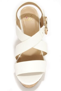 My Delicious Baymist White Platform Wedge Sandals at Lulus.com!
