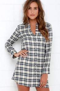 BB Dakota Ruger Cream and Navy Blue Plaid Shirt Dress at Lulus.com!