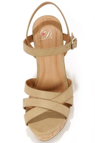 My Delicious Serum Light Taupe Peep Toe Wedge Sandals at Lulus.com!
