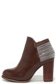 All Lined Out Brown High Heel Booties at Lulus.com!