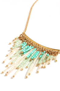 Bead the Fifth Turquoise and Gold Beaded Necklace at Lulus.com!