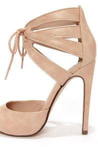 My Delicious Talbot Blush Lace-Up Peep Toe Heels at Lulus.com!