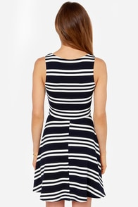 All for Nautical Ivory and Navy Blue Striped Dress at Lulus.com!