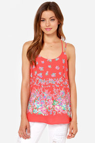 Live Fleur the Moment Red Floral Print Tank Top at Lulus.com!