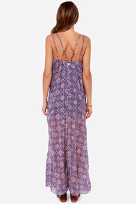 RVCA Drift On Blue and Coral Print Maxi Dress at Lulus.com!