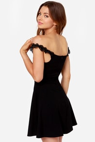 Coy Story Off-the-Shoulder Black Dress at Lulus.com!