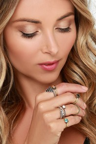Treasured Trinkets Silver and Gold Ring Set at Lulus.com!