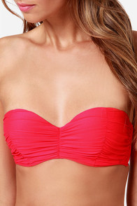 Billabong Surfside Coral Red Bustier Bikini at Lulus.com!