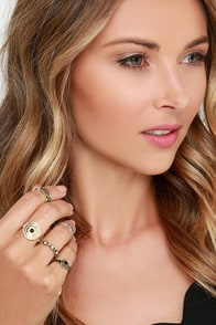 Stack the Deco Gold and Silver Ring Set at Lulus.com!