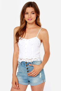 Billabong This Beach Is Taken Ivory Bustier Top at Lulus.com!
