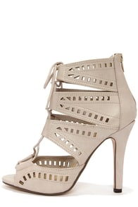 My Delicious Caper Light Taupe Cutout Peep Toe Booties at Lulus.com!