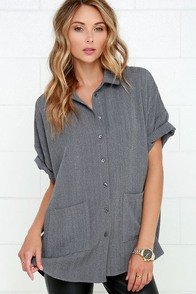 Hoot and Collar Grey Button-Up Top at Lulus.com!