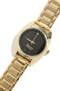 Second Hand News Gold and Black Watch at Lulus.com!