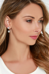 Let's Get Fancy Silver Rhinestone Ear Jackets at Lulus.com!