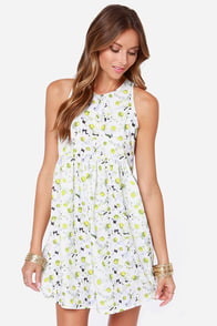 Meadow Re Mi Ivory Floral Print Dress at Lulus.com!