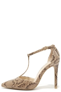 Meet In the Middle Natural Snakeskin T-Strap Pumps at Lulus.com!