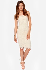 LULUS Exclusive First Love Cream Strapless Lace Dress at Lulus.com!