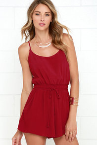Lucy Love Riley Wine Red Romper at Lulus.com!