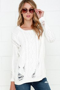 Olive & Oak Houses of the Holy Distressed Ivory Sweater at Lulus.com!