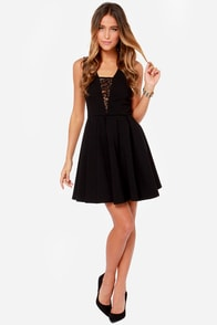LULUS Exclusive Lace Your Steps Black Dress at Lulus.com!