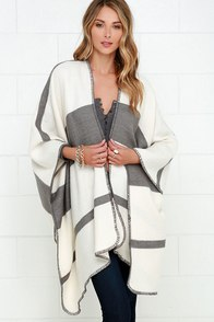 Mountainside Villa Grey and Ivory Striped Poncho at Lulus.com!
