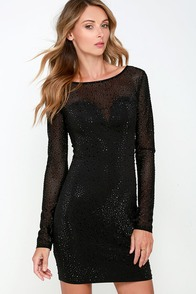 Starry Sky Black Long Sleeve Beaded Dress at Lulus.com!