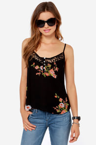 Between the Vines Black Floral Print Tank Top at Lulus.com!