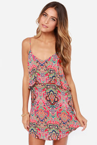 Haight Ashbury Hot Pink Print Dress at Lulus.com!