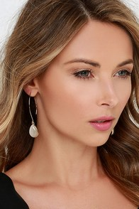 Race to Some Place Gold and Ivory Threader Earrings at Lulus.com!