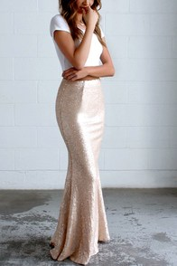 Kickin' Up Stardust Blush Sequin Maxi Skirt at Lulus.com!