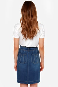 Dittos Emma Denim Midi Skirt at Lulus.com!