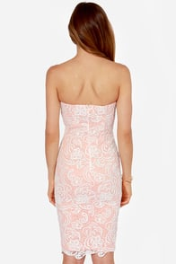 LULUS Exclusive First Love Peach and Ivory Strapless Lace Dress at Lulus.com!