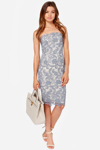 LULUS Exclusive First Love Cream and Grey Strapless Lace Dress at Lulus.com!