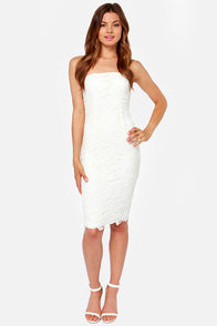 LULUS Exclusive First Love Ivory Strapless Lace Dress at Lulus.com!