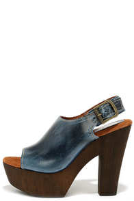 Sbicca Redmond Navy Blue Leather Platform Heels at Lulus.com!