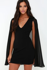 Back and Better Than Ever Black Cape Dress at Lulus.com!