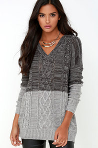 Jack by BB Dakota Jory Grey Color Block Sweater at Lulus.com!