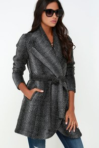 Jack by BB Dakota Abra Dark Grey Belted Coat at Lulus.com!