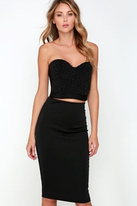 Luck Be a Lady Black Beaded Two-Piece Midi Dress at Lulus.com!