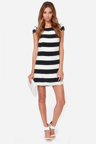 LULUS Exclusive Ship Captain Ivory and Navy Blue Striped Dress at Lulus.com!