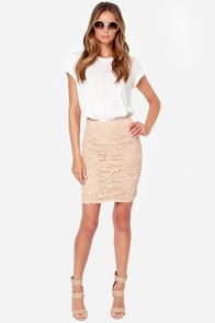 Midi Moons Beige Lace Pencil Skirt