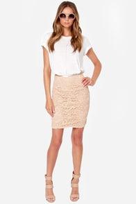 Midi Moons Beige Lace Pencil Skirt
